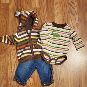 Gymboree 3 piece outfit, size 3 to 6 mos